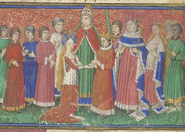 medieval wedding Harley-326-f.-9-Marriage-of-king-Alfour-and-princess-Sybil